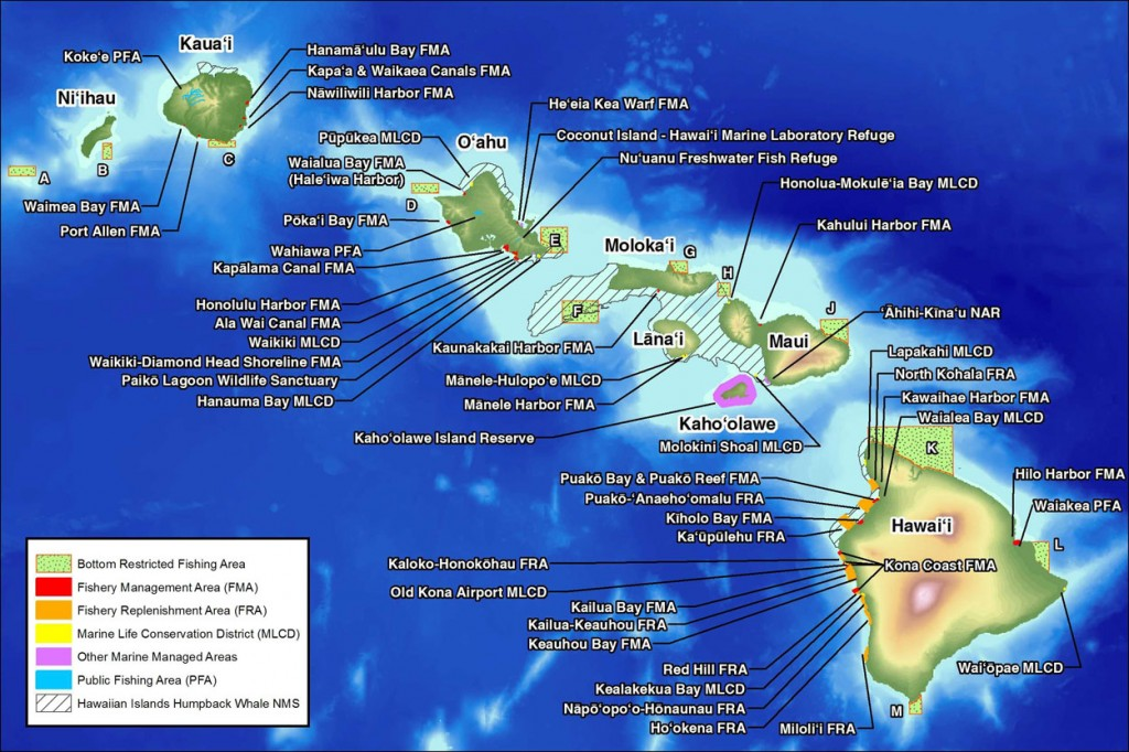 Map of marine managed areas in the main Hawaiian Islands