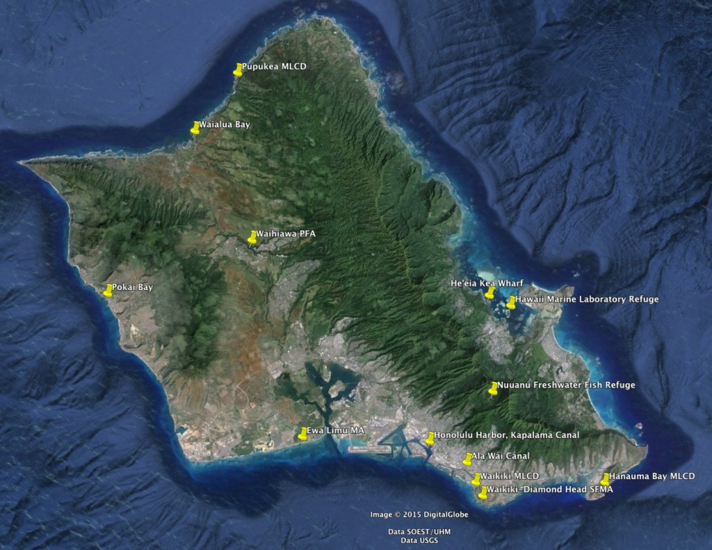 Division of aquatic resources regulated fishing areas on for Bottom fishing oahu