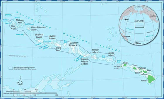 Map of Northwestern Hawaiian Islands Marine Refuge