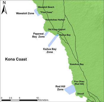 Division of Aquatic Resources   Kona Coast on molokai hawaii coastline, waikiki hawaii coastline, kauai coastline,