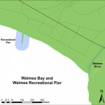 Map of Waimea Bay and Waimea Recreational Pier