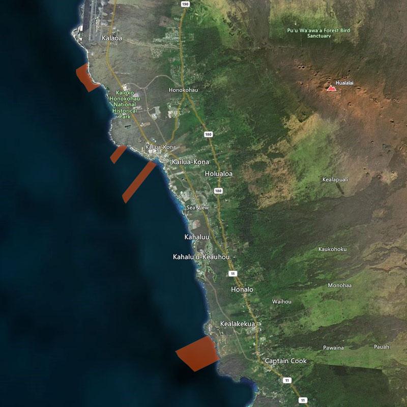 Map of Kona Coast