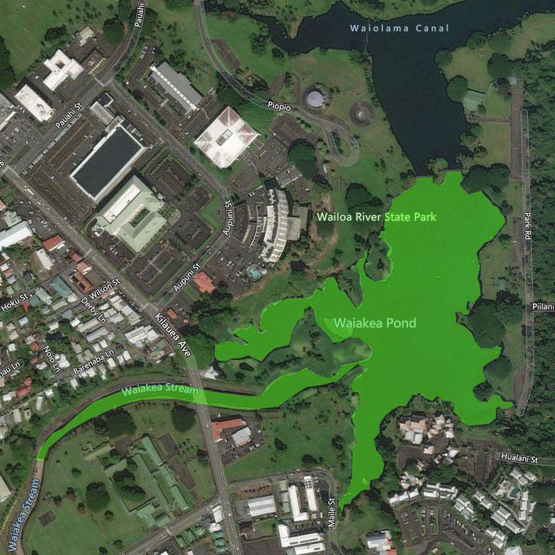Map of Waiakea Public Fishing Area