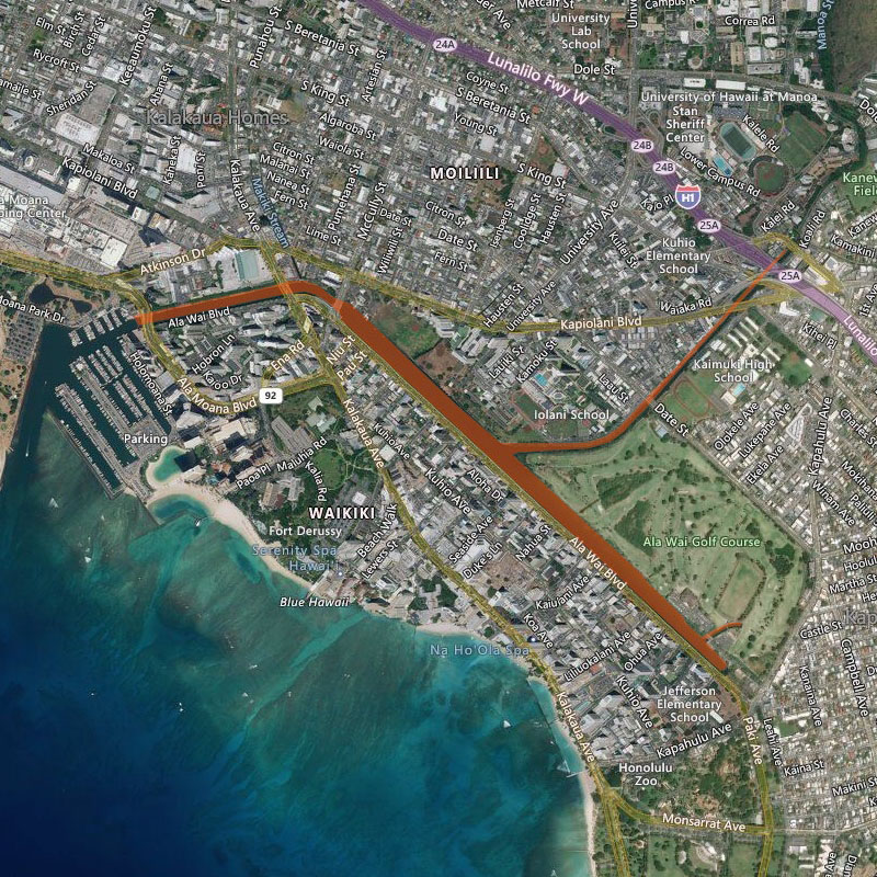 Map of Ala Wai Canal