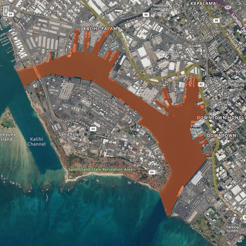 Map of Honolulu Harbor