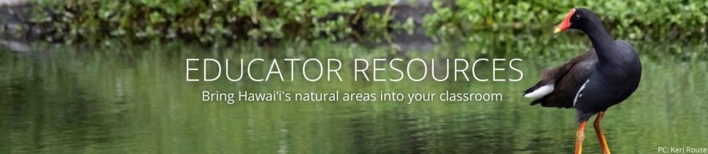 An image of an 'alae 'ula with the words Educator Resources: Bring Hawaiʻi's natural areas into your classroom