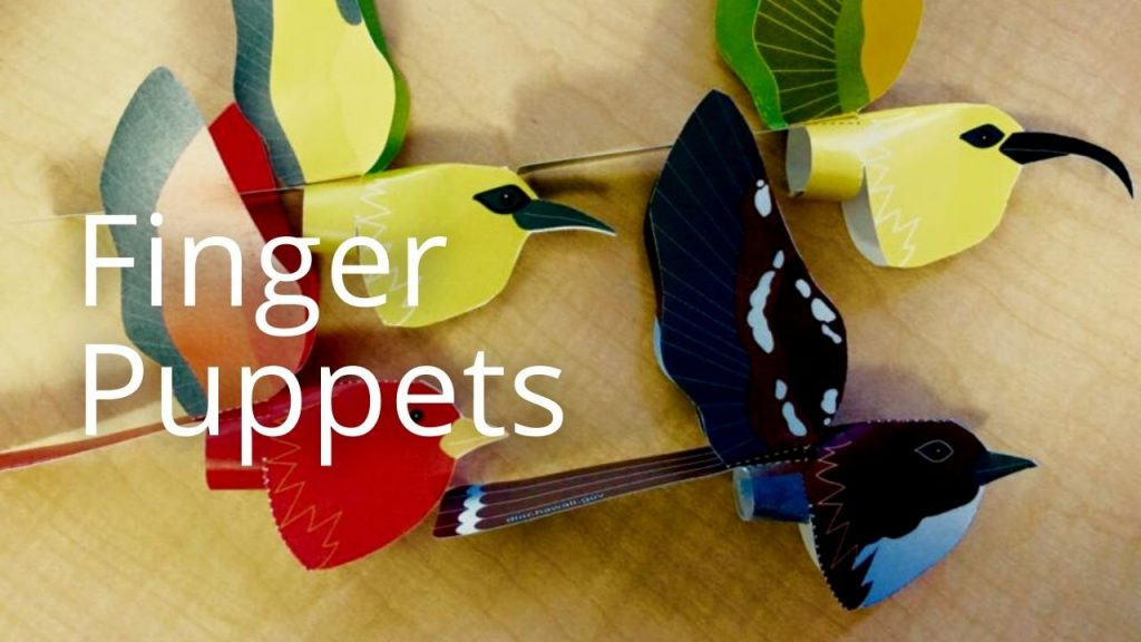 An image of paper finger puppets resembling native birds