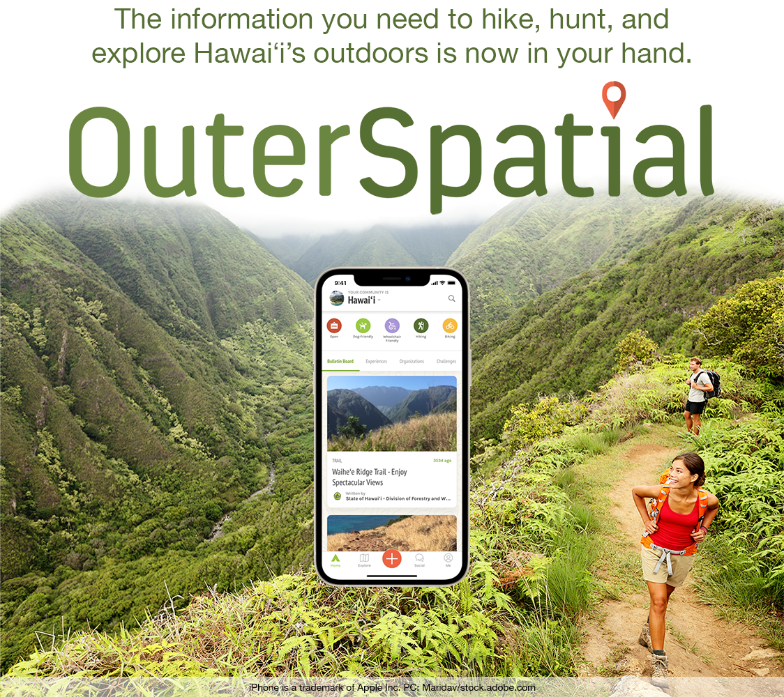 An image of two hikers in Hawaii and a smartphone graphic with text about the Outerspatial app