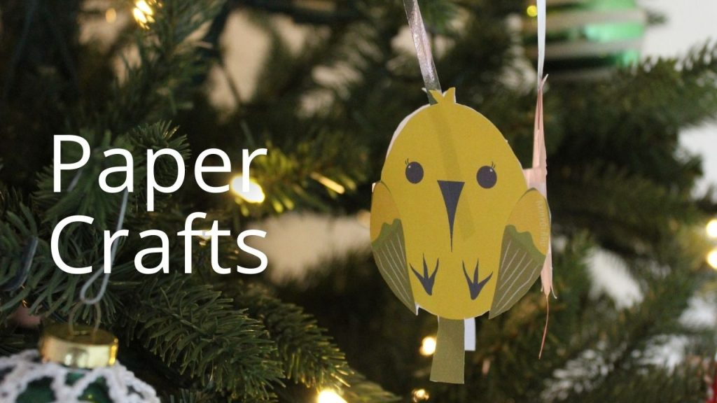 An image of a paper bird ornament with the words Paper Crafts