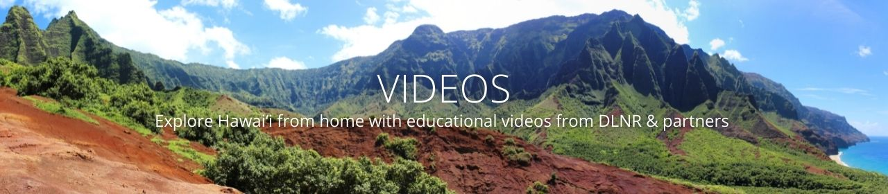 An image of Na Pali coast on Kauai reading Videos- Explore Hawaiʻi from home with educational videos from DLNR & partners