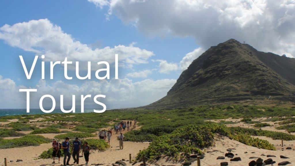 An image of Kaʻena Point with the words Virtual Tours