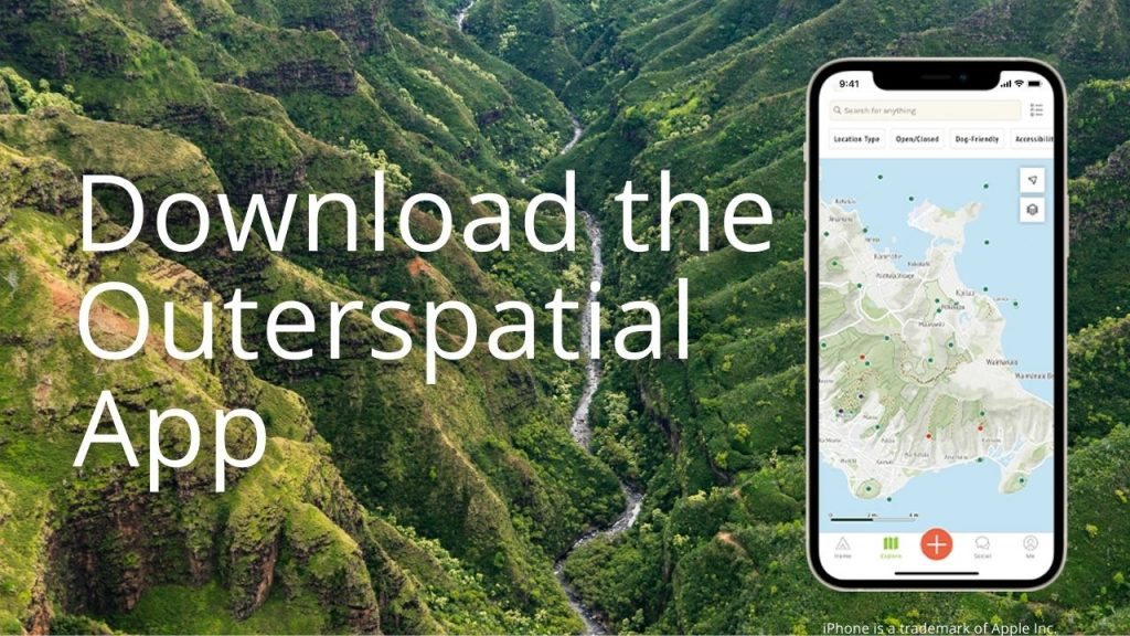 An image of a forested valley and a smartphone & app graphic linking to information on the Outerspatial app
