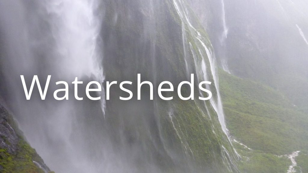 An image of a waterfall linking to an educational page about watersheds