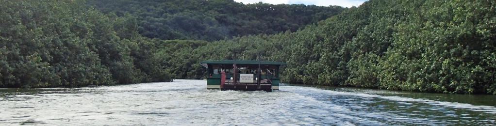 Boat heading up Wailua river