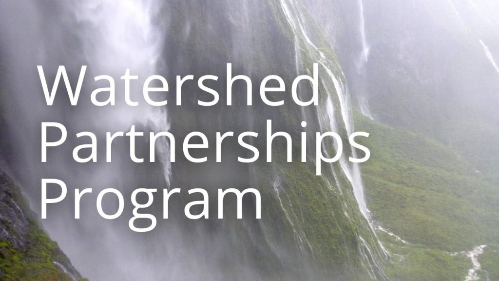 An image of a waterfall linking to a page called Watershed Partnerships Program