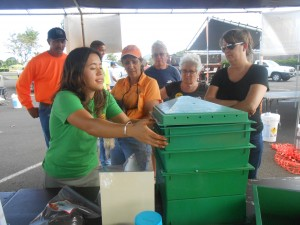Kauai has a strong educational component at Arbor Day—this year a  vermiculture demonstration area set up for those wanting to learn about worms. Kim Perry, CTAHR Master Gardener, demonstrates how to set up a worm composting bin