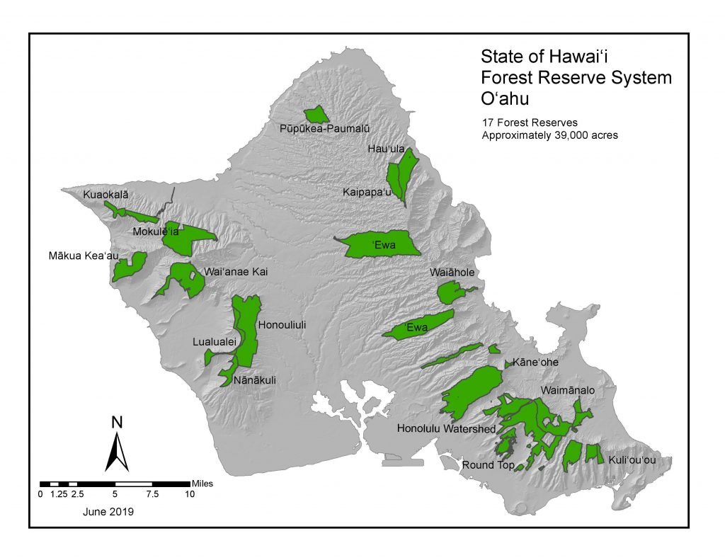 A map of Forest Reserves on Oʻahu