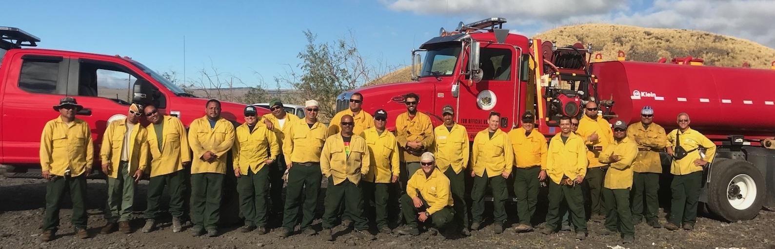 A DOFAW wildland firefighter team on Hawaiʻi Island