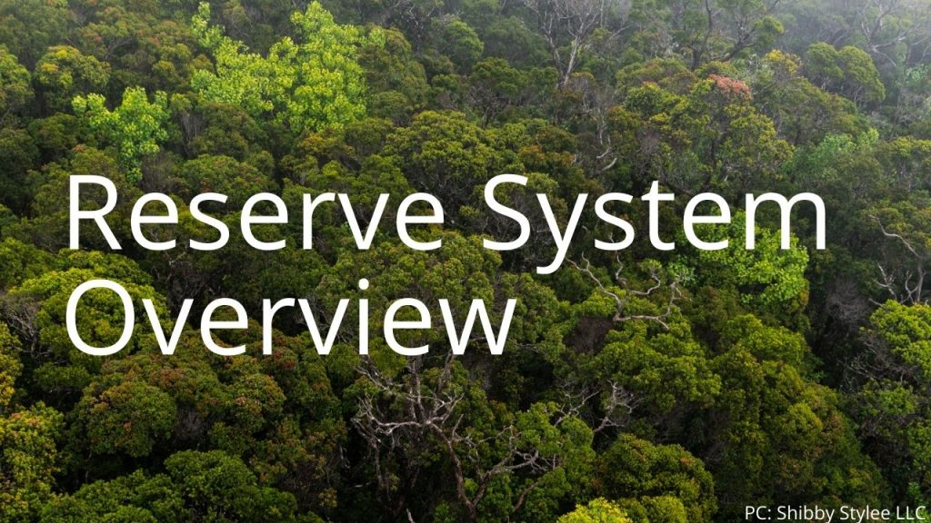 An image of a forest linking to the Forest Reserve System Overview page