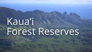 An image and button related to Kauai Forest Reserves