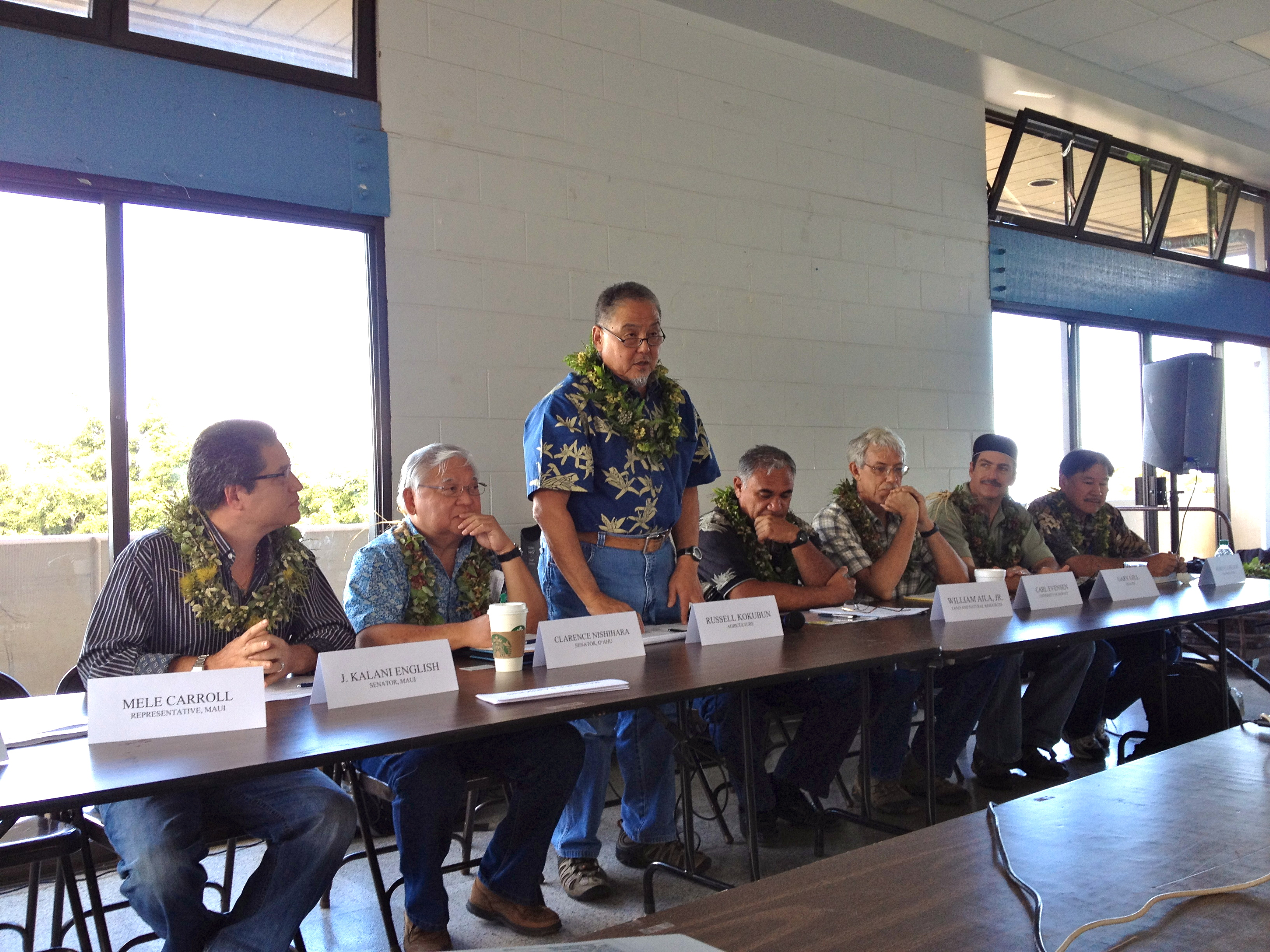 HISC members address an audience in Pukalani, Maui in May, 2012