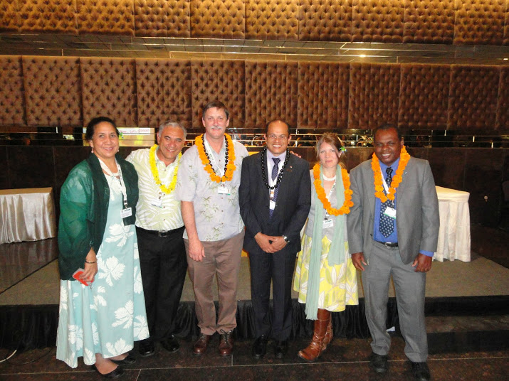 Members of the Hawaii delegation to CBD COP11. L to r: Hau'oli Wichman, William J. Aila, Jr., Chipper Wichman, Jacqueline Kozak Thiel, and Minister Payet