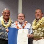 Governor Abercrombie gives the proclamation for the first Hawaii Invasive Species Awareness Week to HISC co-chairs William J. Aila, Jr. (DLNR) and Russell Kokubun (DOA)