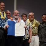 Governor Abercrombie (center) gives the proclamation for the first Hawaii Invasive Species Awareness Week to members of the Hawaii Invasive Species Council