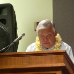 Senator Clarence Nishihara addresses the audience regarding invasive species
