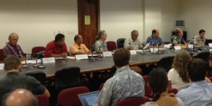 Members and legislative participants of the Hawaii Invasive Species Council review an interagency budget for invasive species projects in FY15