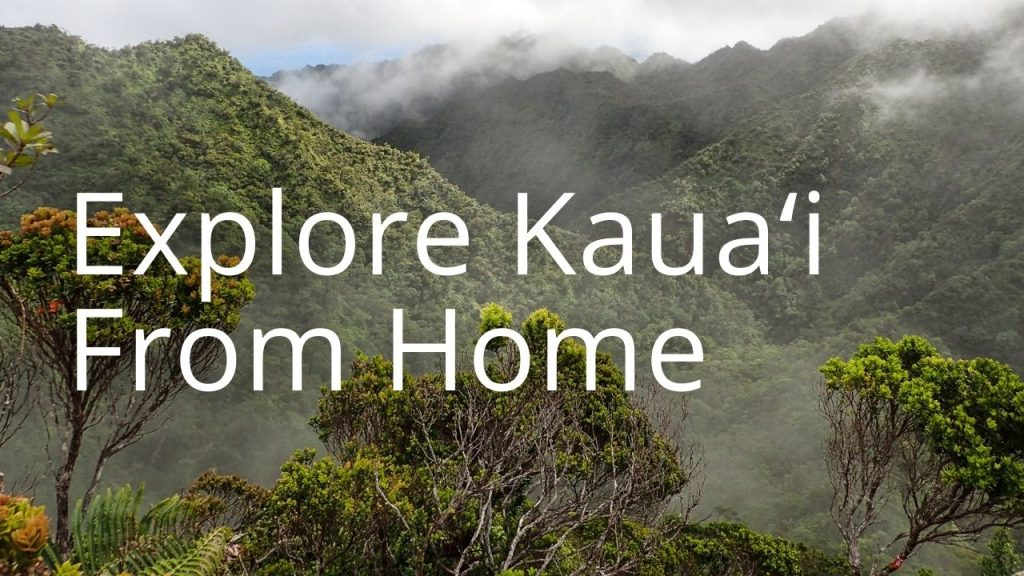 An image of mountains linking to Explore Kauaʻi From Home