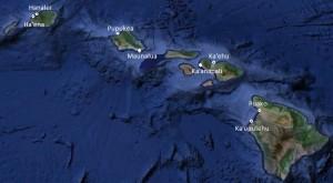 Hawaiian Islands map with Makai Watch locations
