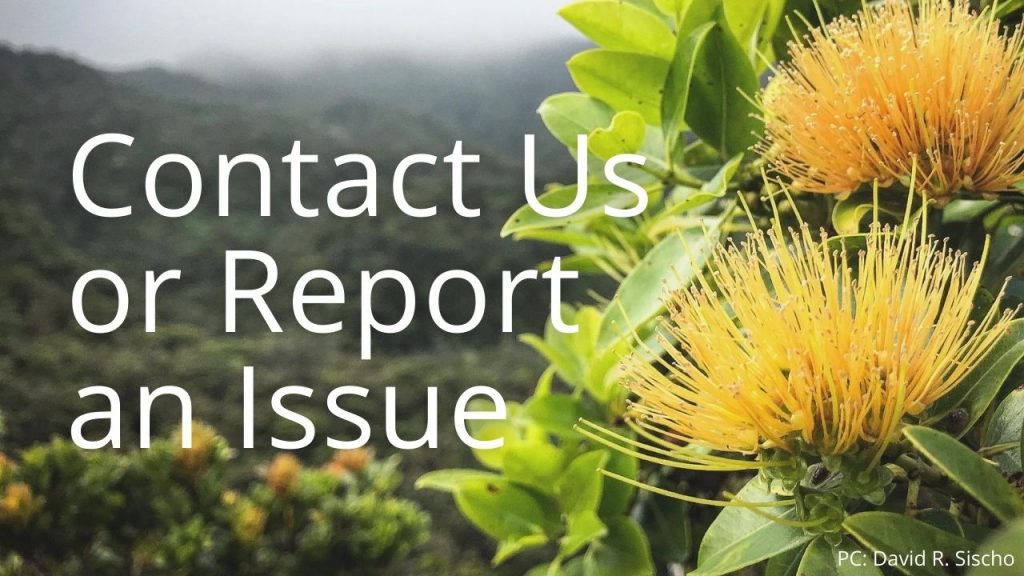 An image of Lehua flowers linking to Oʻahu contact us or report and issue