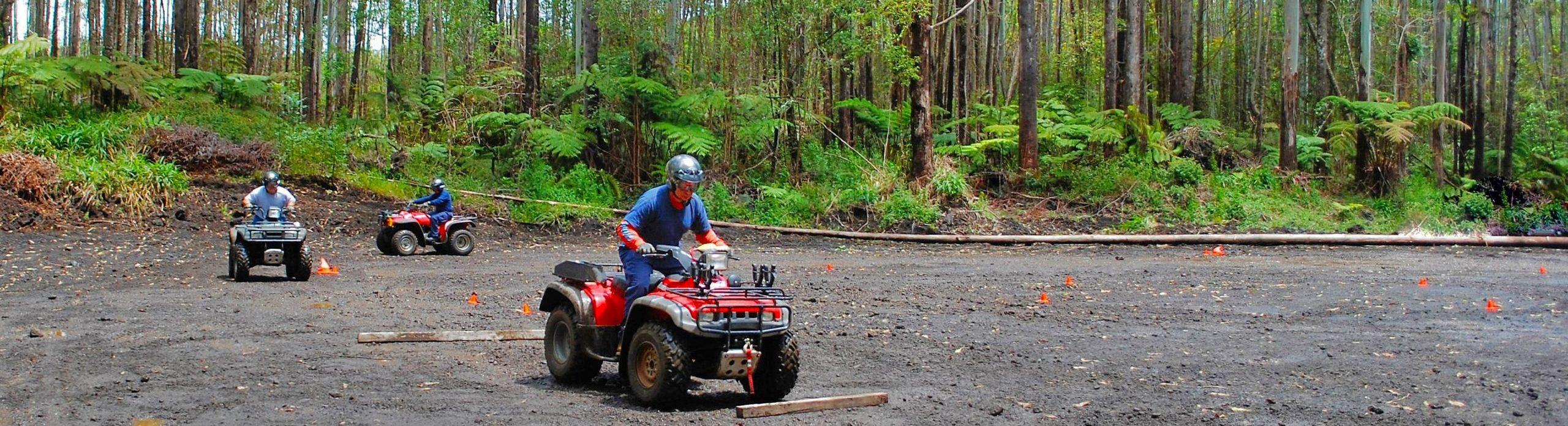 ATV riders at the Upper Waiakea ATV and Dirt Bike Park on Hawaii Island.