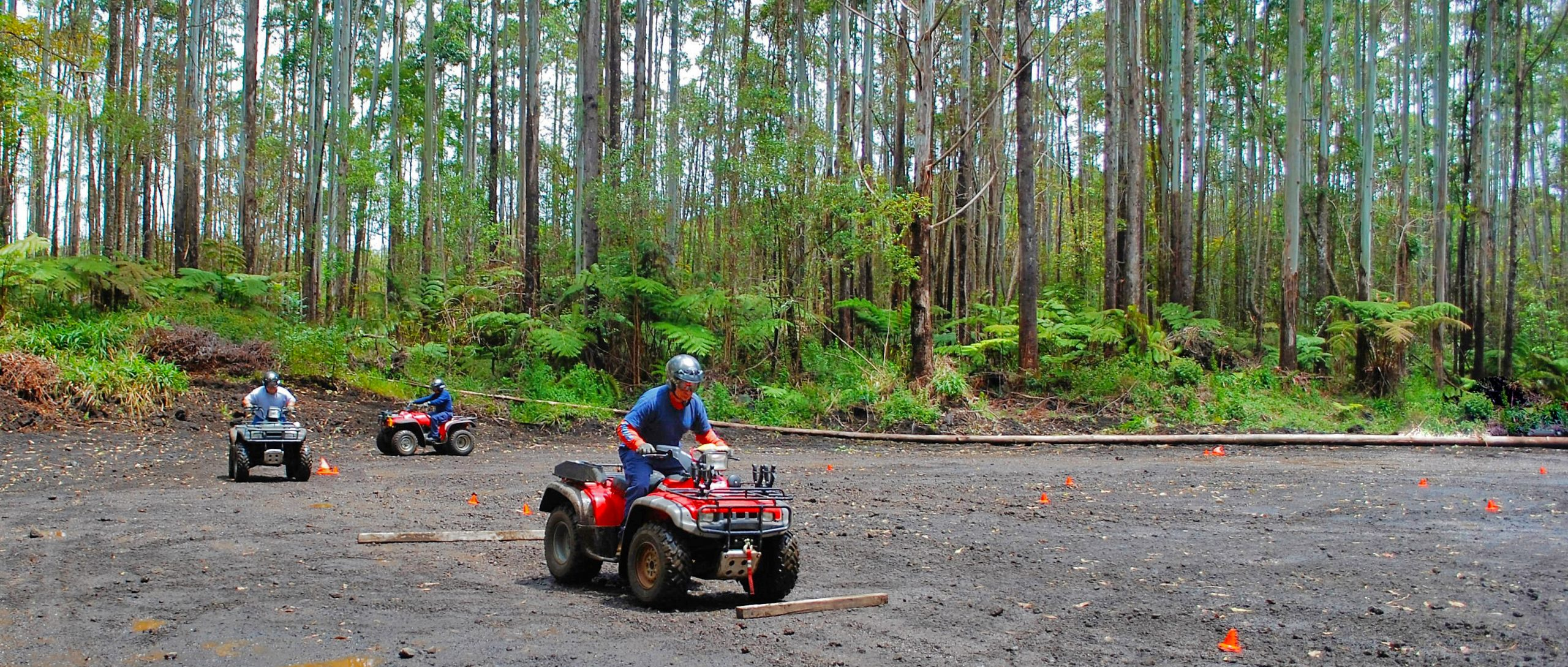 ATV riders at the Upper Waiakea ATV and Dirt Bike Park on Hawaii Island.