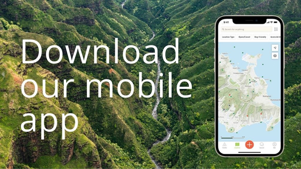 An image of a valley and graphic of a mobile phone, linking to the download page for the DOFAW Outerspatial app