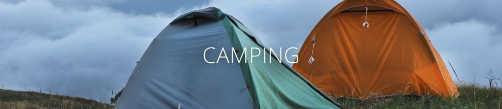 An image of two tents with the word Camping