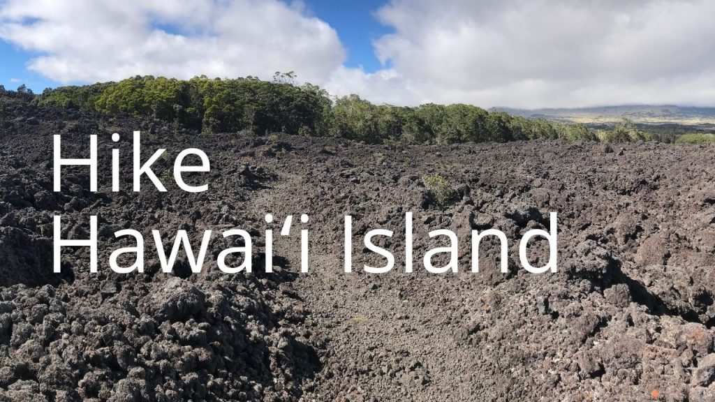 An image of the Puʻu Oʻo trail in a lava field with a kīpuka with the words Hike Hawaiʻi Island