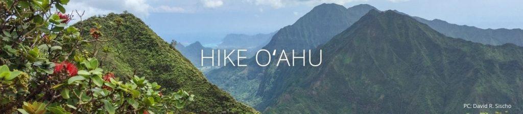 An image of the Koʻolau mountains with the words Hike Oʻahu