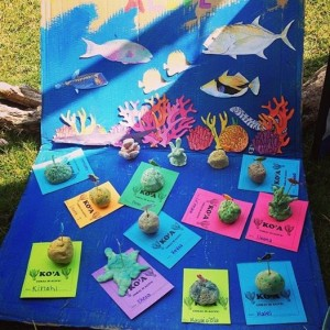 clay coral reef forms creating a fake coral reef art project