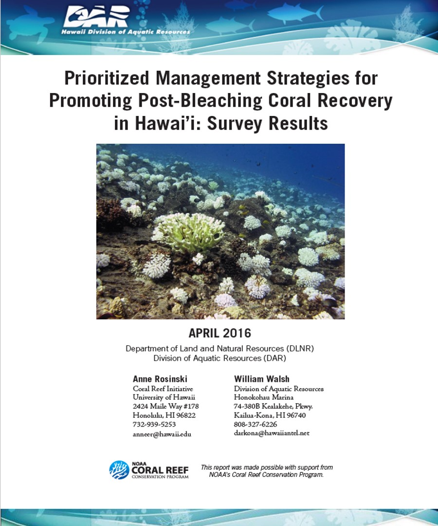Coral Bleaching Recovery Survey - 4/2016