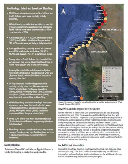 West Hawaii Coral Bleaching Monitoring Report - 9/2016
