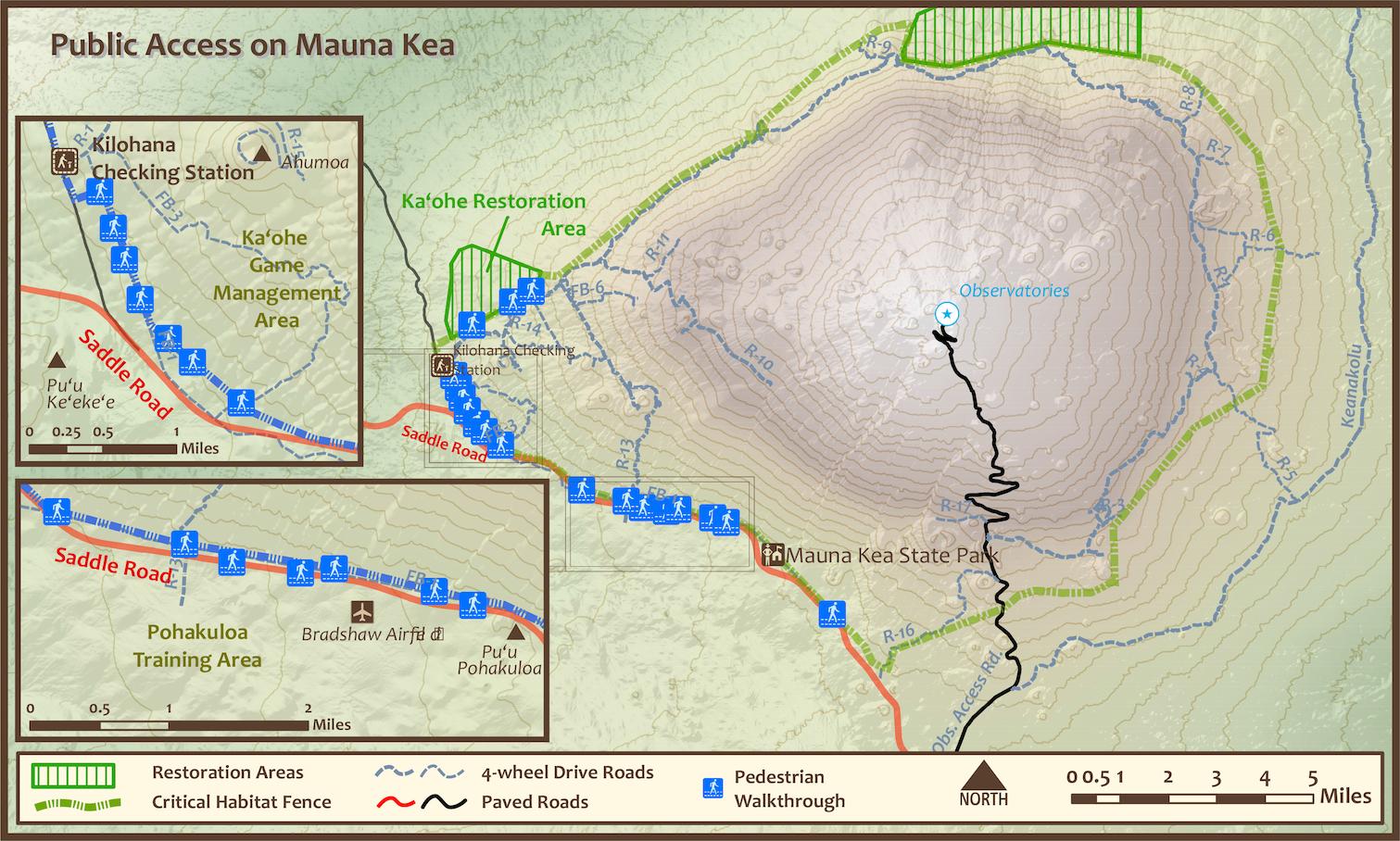 Mauna Kea Public Access Map