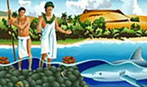 Illust of hawaiian and shark