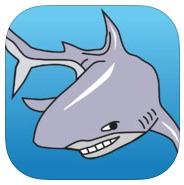 Reef Defender Logo of Shark with blue background