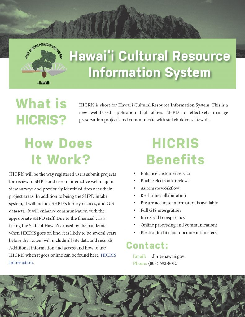 Hawaii Cultural Resource Information System