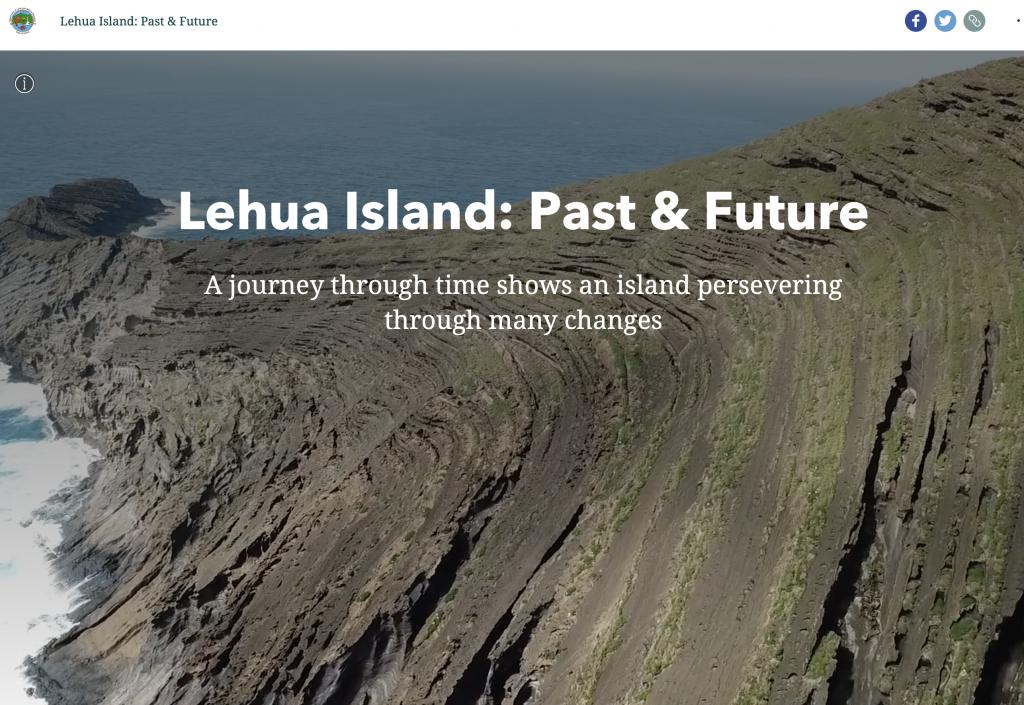 A screenshot of the Lehua Island Past and Future StoryMap