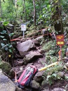 Closure warning sign (Act 82 sign) installed at trailhead