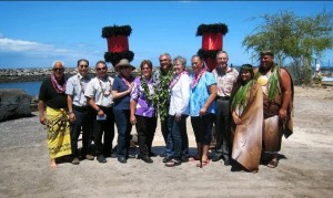 From left to right: Billy Mitchell Cedric Ota, Vice President HDCC Ed Underwood, Administrator, Division of Boating and Ocean Recreation Nancy Murphy, Hawaii District Manager, DOBOR Senator Solomon William Aila, Jr., Chairperson DLNR  Representative Evans Representative Hanohano William Wilson, President Hawaiian Dredging Construction company Kahu Keoni Atkinson Lilinoe Atkinson. Photo by Eric Yuasa, DOBOR