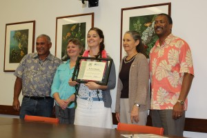 Left to right is William Aila; Christine Clarke, Acting Director for the Natural Resources Conservation Service in the Pacific Islands Area; M. Irene Sprecher, award recipient; Diane Ley, Executive Director for the Farm Service Agency; and Randy Moore, Pacific Southwest Regional Forester from the US Forest Service.
